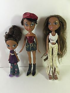 Bratz-Dolls-African-American-Black-w-Clothing-Original-2001-Lot-of-3