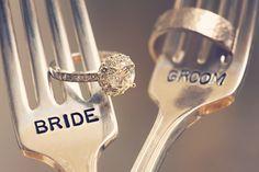 bride and groom forks.