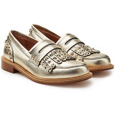 R.E.D. Valentino Embellished Leather Loafers (35.425 RUB) ❤ liked on Polyvore featuring shoes, loafers, gold, embellished shoes, loafer shoes, polish leather shoes, leather loafer shoes and star shoes