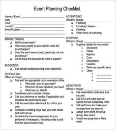 Party Planning Checklist  Event Planning    Party