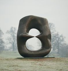 Peaceful garden with sculpture by.Henry Moore