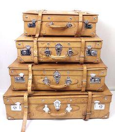 Vtg Faux Leather 4 Piece Luggage Set Hard Shell Keys Bag Case Straps Suitcase | eBay