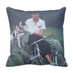 Jack Russell Terrier and Bicycle Throw Pillow  see my site:  www.zazzle.com/vintageanddeco*