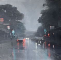 """Winter - Unley Road - rainy cityscape in oil"" by Mike Barr. Paintings for Sale. Oil Painting Supplies, Oil Painting For Sale, Paintings For Sale, Rain Painting, City Painting, Rainy City, Cityscape Art, Sense Of Place, Buy Art Online"