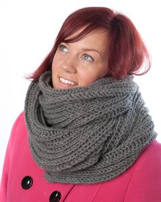DARK GRAY scarf  Knit men gray scarf   Hand Knitted by MioLauma, $45.00