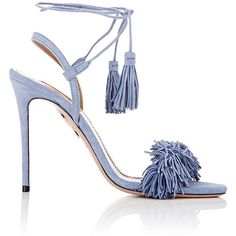 Aquazzura Women's Wild Thing Sandals ($785) ❤ liked on Polyvore featuring shoes, sandals, heels, blue, blue high heel shoes, open toe sandals, heeled sandals, fringe sandals and fringe shoes