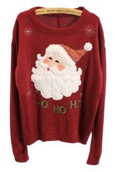 Santa Claus Appliqued Sweater - OASAP.com