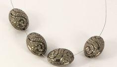 Egg shape Beads with Pave Diamonds