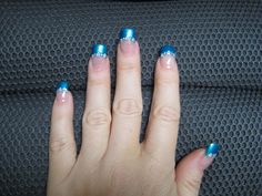 Here are the cute tiny flowers with caribbean blue tips - Nail Art