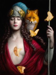 """Guardian"" - Chie Yoshii, oil on board, 2014 {contemporary fantasy art female with fox butterflies painting} chieyoshii.com"