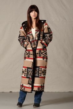 Reversible Long Coat, Black Diamond Designed exclusively by Kraff's this reversible, long coat is a Southwestern inspired design. Made by Kraff's using a genuine Pendleton® blanket. This coat can be r