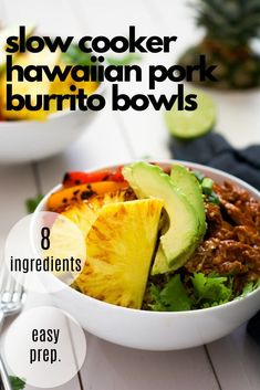 Slow Cooker Hawaiian Pork Burrito Bowls are a dinner saver as they cook all day in a homemade enchilada sauce then topped with sautéed peppers & pineapple! Healthy Freezer Meals, Healthy Slow Cooker, Healthy Meal Prep, Easy Healthy Recipes, Slow Cooker Recipes, Free Recipes, Keto Recipes, Healthy Food, Healthy Eating