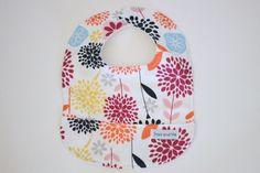 Organic Cotton Pocket Bib Baby Girl Bib Dahlias by StorkandMe on Etsy