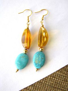 Turquoise and amber earrings from Mexico.