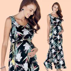 Ebru Maternity Tropical Maxi Dress Maternity Dresses, Tropical, Casual, Fashion, Moda, Maternity Gowns, Maternity Beach Dresses, Fasion, Maternity Clothing