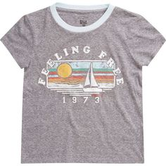 Billabong Unisex Feeling Free Tee ($18) ❤ liked on Polyvore featuring tops, t-shirts, dark athletic grey, t-shirt/prints, screen print t shirts, billabong t shirts, vintage tees, graphic print t shirts and short sleeve t shirt