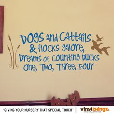 Wall Decals Nursery Hunting Fishing Ducks Baby Childrens Room - To go to sleep - Dogs and cattails Vinyl decal 14 x 36 via Etsy