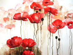 I love all kind of flowers, especially the red blooms. This is not a print, this is an original one of a kind work of art. Easy Canvas Painting, Painting & Drawing, Poppy Fields, Diy Home Crafts, Flower Designs, Poppies, Original Paintings, Illustration Art, Watercolor