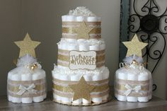 SET OF 3 - 3 Tier & 2 Mini Twinkle Twinkle Little Star Diaper Cake Set, Gold Burlap Lace, Gender Neutral, Centerpiece, Gold Star Baby Shower