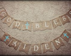 First Communion Banner, Custom Personalized Baptism Banner Garland, God Bless Bunting, First Communion Burlap Garland, Baptism Burlap Banner Burlap Garland, Bunting, First Communion Banner, Baptism Banner, Catholic Communion, Painting Burlap, Letter Writing, Etsy Seller