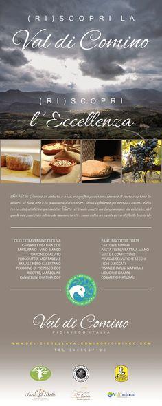 La Valcomino ha tanti prodotti locali e molte DOP.....un esempio? ...il Pecorino di Picinisco DOP...il fagiolo cannellino di Atina DOP..il Vino Cabernet DOC di Atina ..l'Olio di Oliva DOP di San Donato..il torrone di Alvito....il miele e le confetture e molto altro....!!!!!tutti prodotti da provare....