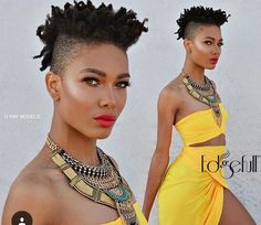 Shaved sides and stunning yellow dress Tapered Afro, Tapered Natural Hair, Pelo Afro, Mohawk Hairstyles, Bandana Hairstyles, Natural Hairstyles, Natural Hair Styles For Black Women, Natural Styles, Sassy Hair