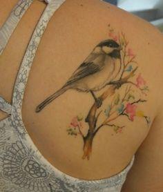 Love my tattoo! Tatoo Bird, Bird Tattoos Arm, Bird Tattoos For Women, Fox Tattoo, Tattoo Motive, Mini Tattoos, Animal Tattoos, Body Art Tattoos, Chickadee Tattoo