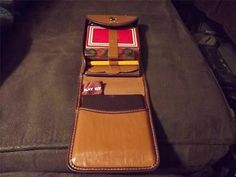 """VTG """"Play Kit"""" Atlantic Playing Card Co. Leather Case -Checkers/Chess/Cards/Dice"""