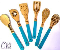 wood burned dipped wooden spoons with turquoise handles