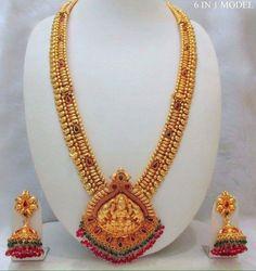 Imitaton Antique Long Haram with Matching Jhumkas Gold Temple Jewellery, India Jewelry, Gold Jewellery Design, Gold Jewelry, Beaded Jewelry, Gold Necklace, Antique Necklace, Designer Jewelry, Necklace Set