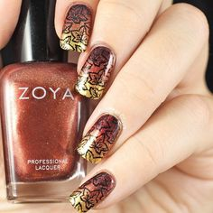 Zoya autumn polish with stamping @copycatclaws #zoya #nailart #instagram