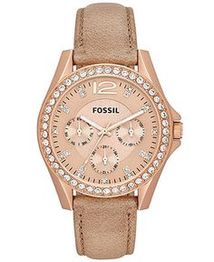 Fossil Watch, Women's Riley Tan Leather Strap 38mm ES3363 - Watches - Jewelry & Watches - Macy's