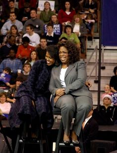 Oprah: She's a wonderful friend, and someone who helps Barack and me keep everything in perspective. -mo