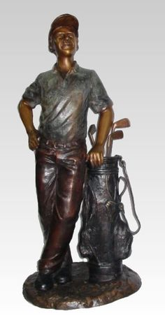 Golfer with Bag Bronze Sculpture. Available at AllSculptures.com