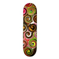 Swirl Me Pretty Colorful Swirls Pattern Skate Board