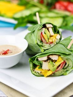 Collard Wraps and Satay Style Dipping Sauce http://thehealthyfoodie.com/2013/03/15/collard-wraps/