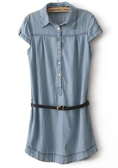 Light Blue Belt Lapel Short Sleeve Denim Dress