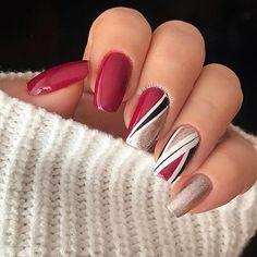 Red And Silver Nails, White Short Nails, Silver Acrylic Nails, Grey Matte Nails, Red And White Nails, Dark Red Nails, Maroon Nails, Acrylic Nails Coffin Short, Maroon Nail Designs