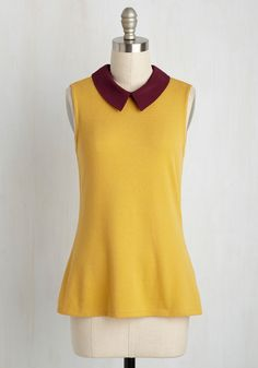Declare and Contrast Sweater in Sunshine by ModCloth - Yellow, Yellow, Peter Pan Collar, 70s, Sleeveless, Fall, Good, Exclusives, Private Label, Collared, Store 1, Knit, Mid-length
