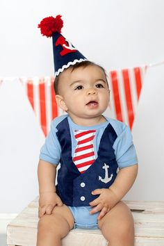 Boys Blue Nautical Sailor Themed Tie Vest by LilyJudeDesigns