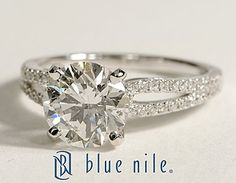 Micropavé Loop Round Diamond Engagement Ring in 14k White Gold #BlueNile