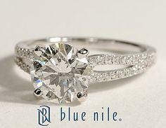 Micropavé Loop Round Diamond Engagement Ring in 14k White Gold #BlueNile