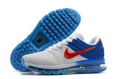check out 3b7d5 708e4 Mens Nike Air Max 2017 KPU Running Shoes Whtie Royal Blue Red 849560 315
