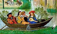 May: Boating Party' - detail from calendar illumination by Simon Bening from the 'Da Costa Hours', ca. 1515.