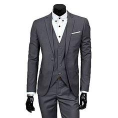 Men's Slim Fit Peak Lapel Suit Blazer Jacket Tux Vest & Trousers 3-piece Suit Set