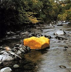 "Andy Goldsworthy. Boulder covered in yellow leaves - ""Life is full of surprises and the unexpected."""