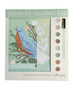 Bird on a Cherry Blossom Branch Paint-by-Number Kit