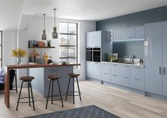 Marino modern style replacement kitchen doors in Gloss denim Replacement Kitchen Doors, Gloss Kitchen, Kitchen Styling, High Gloss, Modern, It Is Finished, Table, Contemporary Kitchens, Furniture