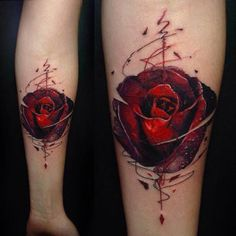 red rose tattoo bud watercolor styled