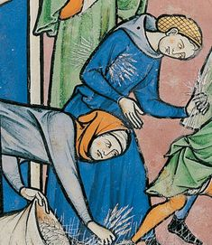Bible de Maciejowski, fol. 17V ; vers 1250 femmes portant un chaperon par dessus leur coiffe, une résille pour l'une et une guimpe ou un simple couvre-chef pour l'autre